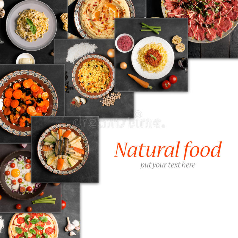 Food collage (top view with copy space) stock photos