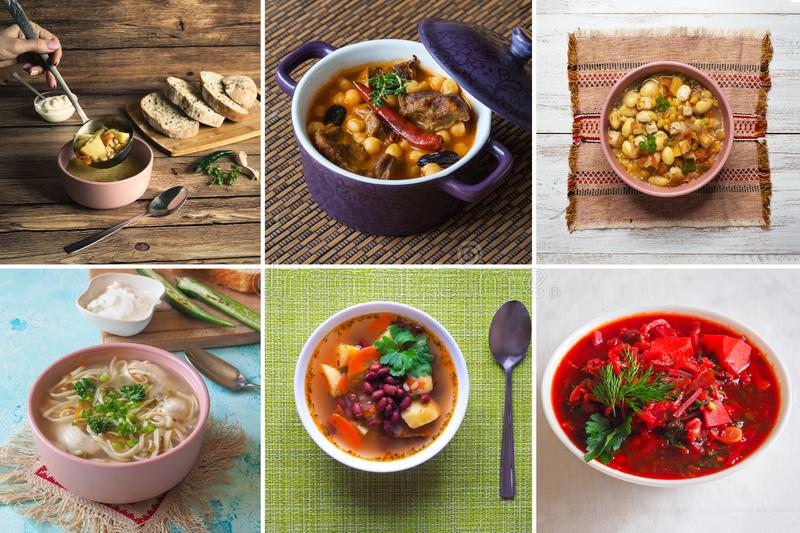 Food collage with a variety soup dishes royalty free stock photo