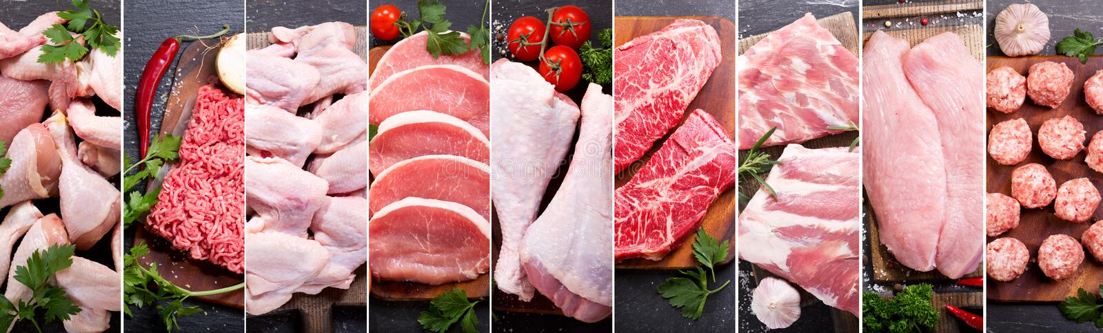Food collage of various fresh meat and chicken. Top view royalty free stock images