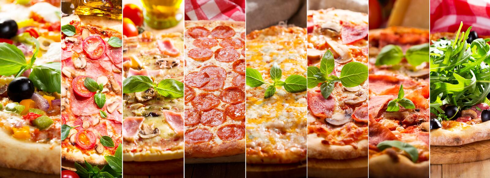 Collage of various types of pizza stock photos
