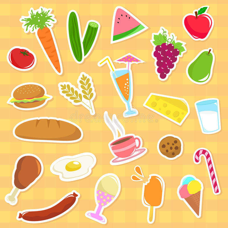 Download Food collection stock vector. Image of dairy, fruit, background - 20132475