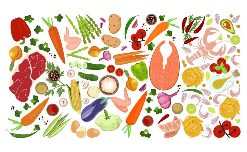 Food collection collage royalty free illustration