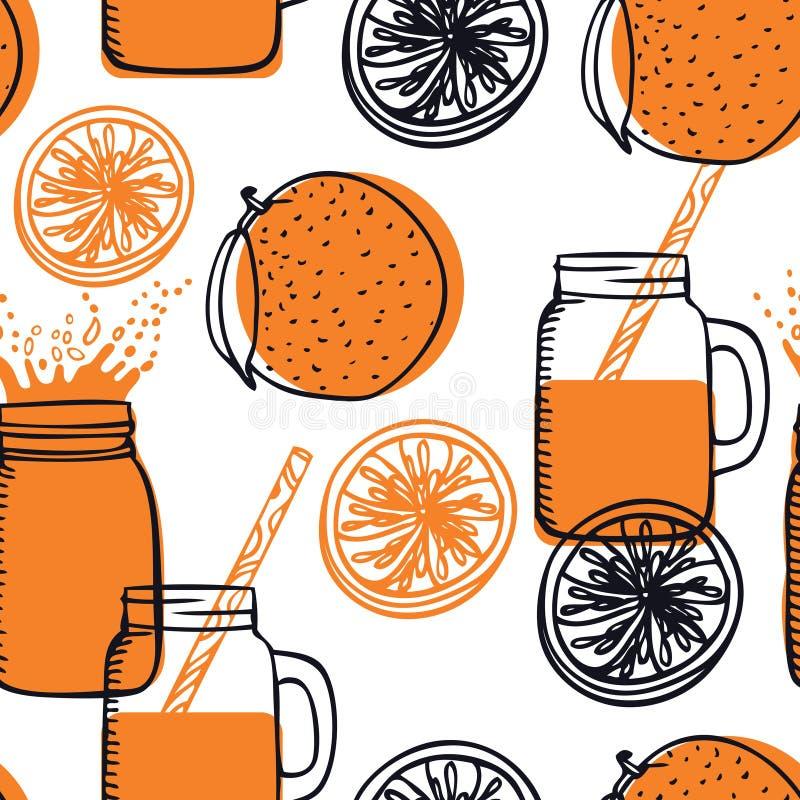 Food Collection Fresh Orange smoothie Jar Drinking Glasses with Handle Seamless pattern. Set stock illustration