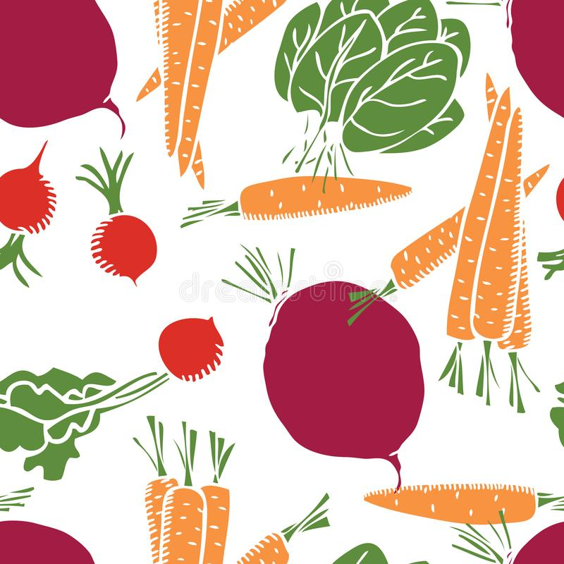Food collection Sweet carrots, radishes and beetroot Seamless pattern. Set vector illustration