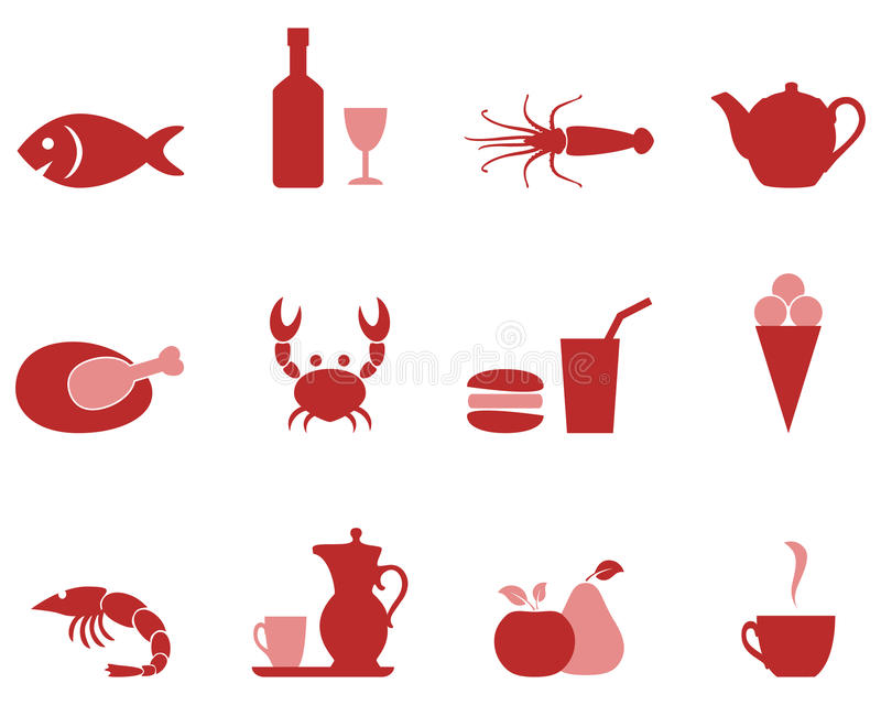 Food color icons a set. royalty free illustration