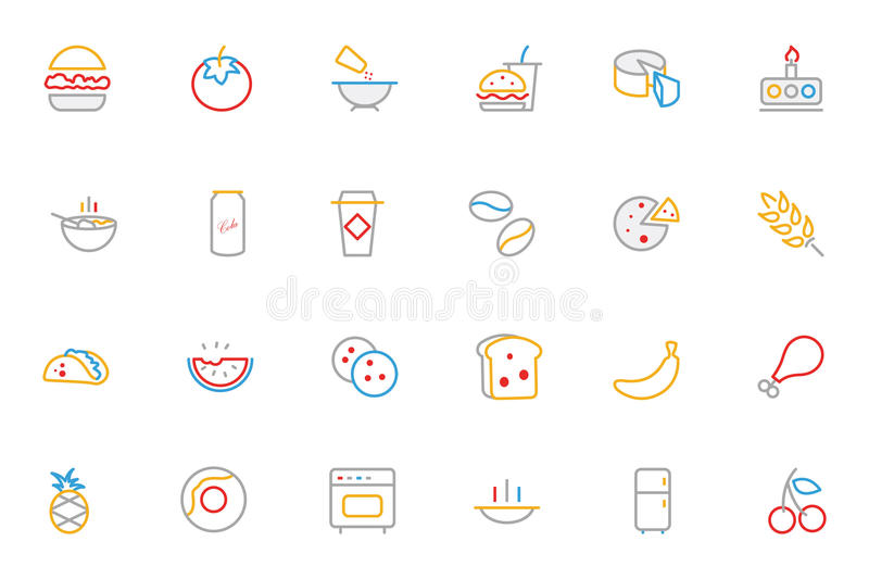 Food Colored Outline Vector Icons 3. Looking for some mouth watering icons? Look no further! You'll love using this food colored line icon pack for any modern royalty free illustration