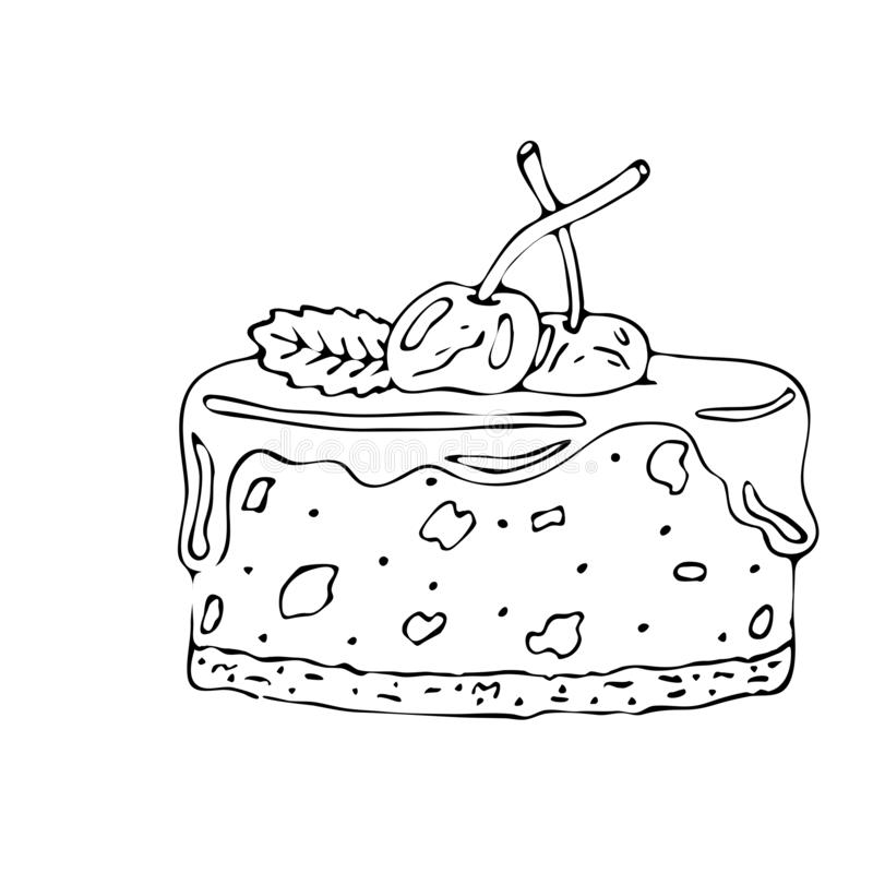 Food Coloring Page With Cake Or Cupcake, Candy Stock ...