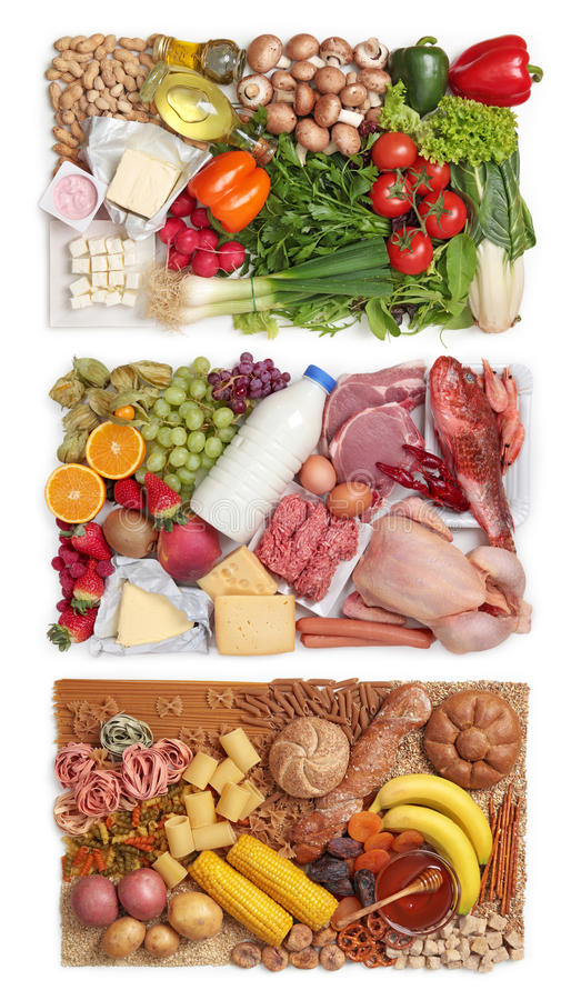 Food combining groups stock images