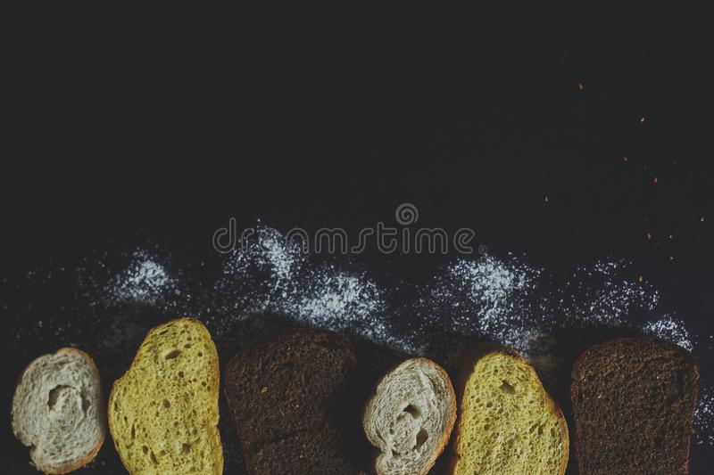 Food concept. Bread sliced. Top view. Free space for text. Copy space royalty free stock image