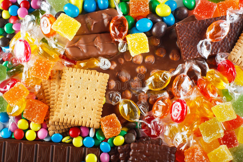 Food concept. Candy, chocolate, candy bars, jelly stock image