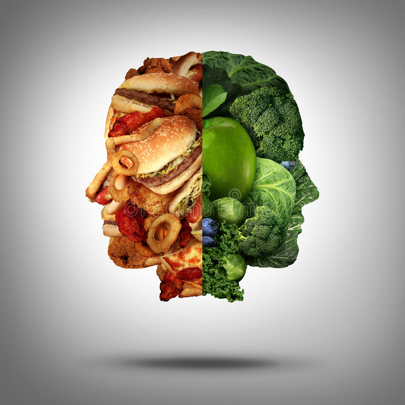Food Concept. And diet decision symbol or nutrition choice dilemma between healthy good fresh fruit and vegetables or greasy cholesterol rich fast food as a royalty free illustration