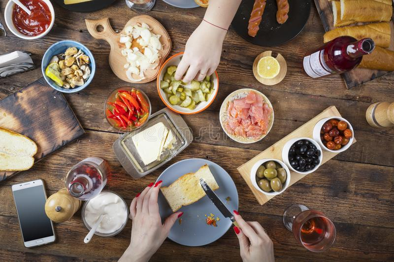 Dinner table, different wine snacks, top view, Flat-lay, Food Catering. Buffet Party, Easter, Christmas, Birthday, Thanksgiving stock photography