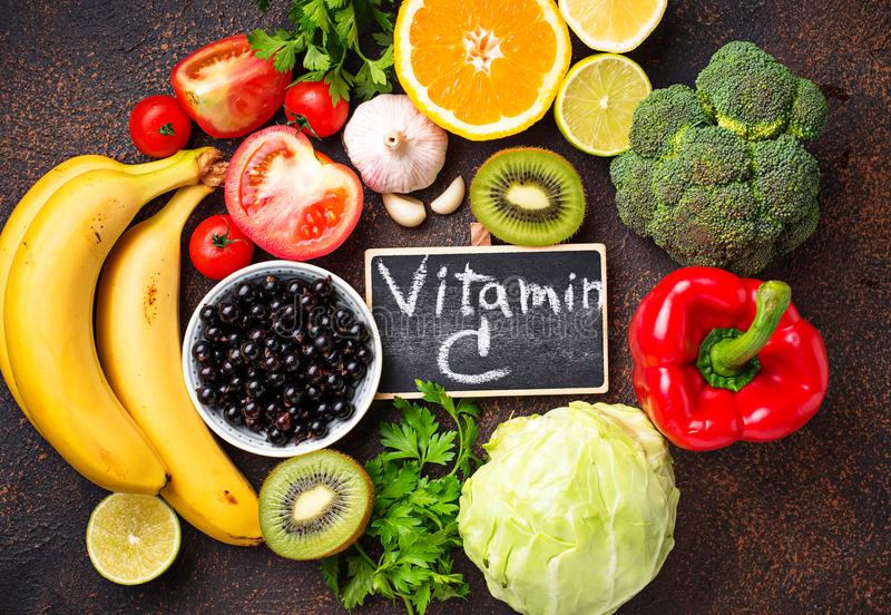 Food containing vitamin C. Healthy eating royalty free stock photography