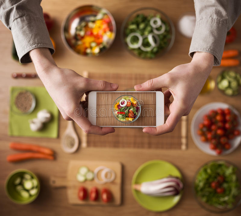Food and cooking app stock photos
