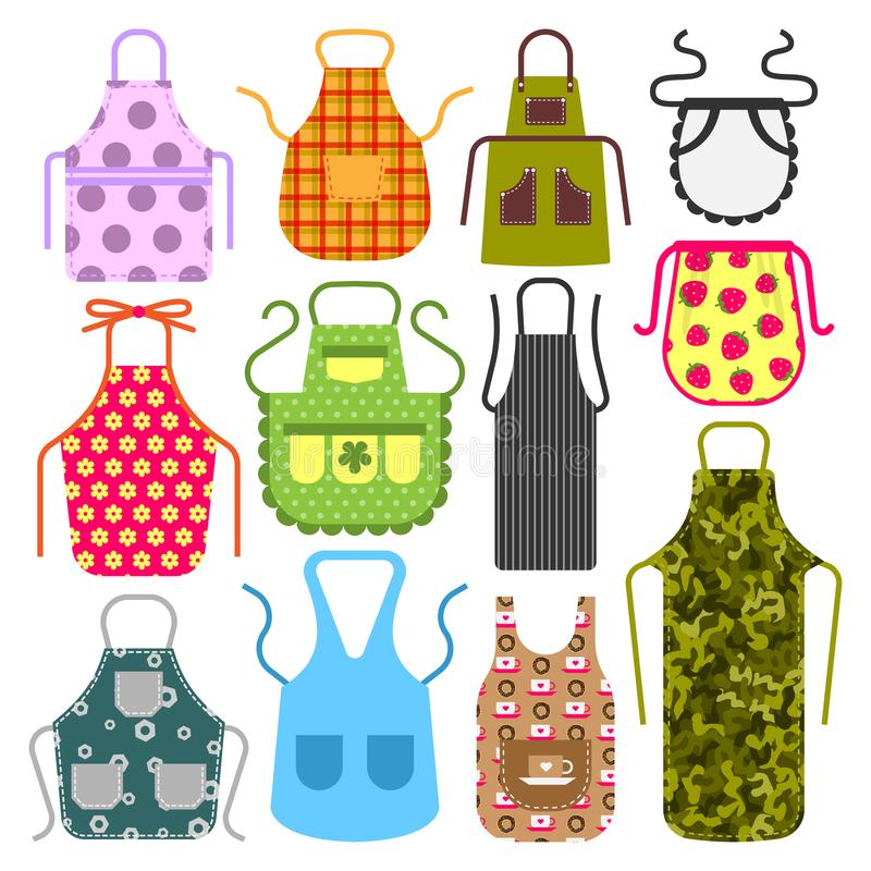 Food cooking apron kitchen design clothes housewife uniform chef cook protective textile cotton apparel vector stock illustration