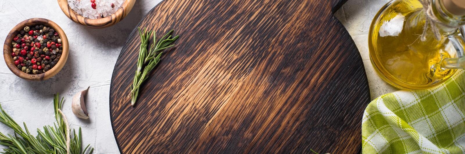 Food cooking background. Long banner format. royalty free stock photo