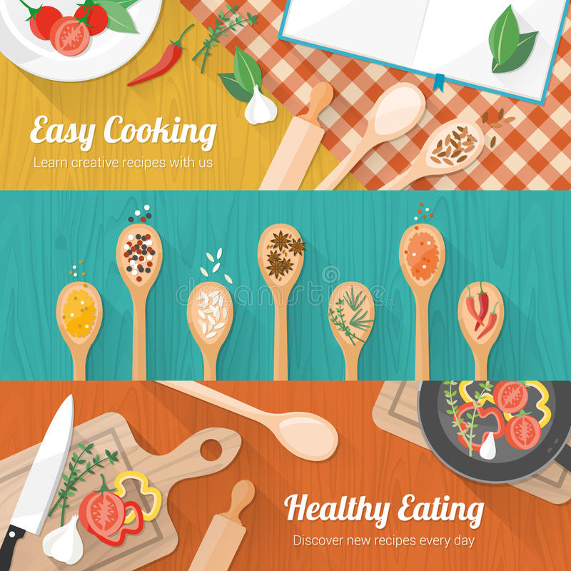 Food and cooking banner. Set with kitchenware utensils, spices and vegetables on wooden table worktop
