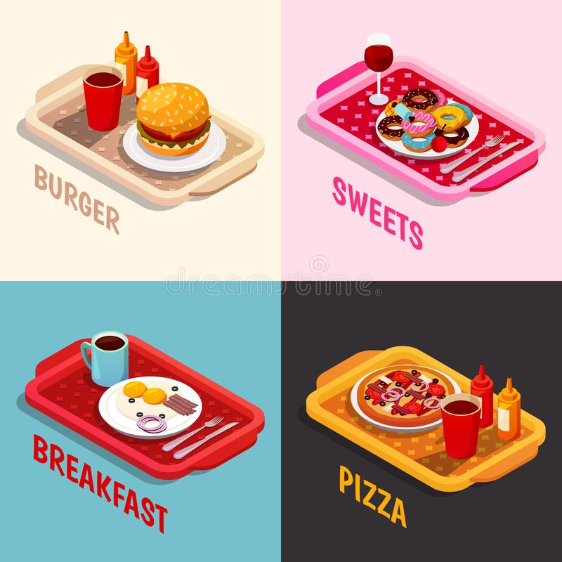Food Cooking Isometric Concept. Including platters with burger, sweets and wine, breakfast, pizza isolated vector illustration vector illustration
