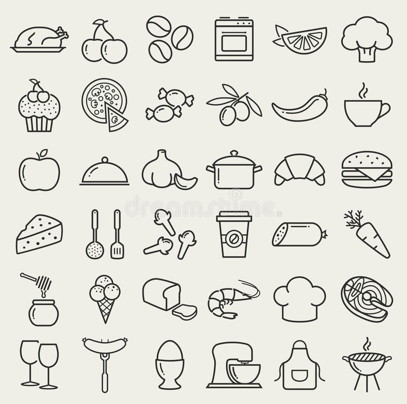Food and cooking line icons. Vector set. vector illustration
