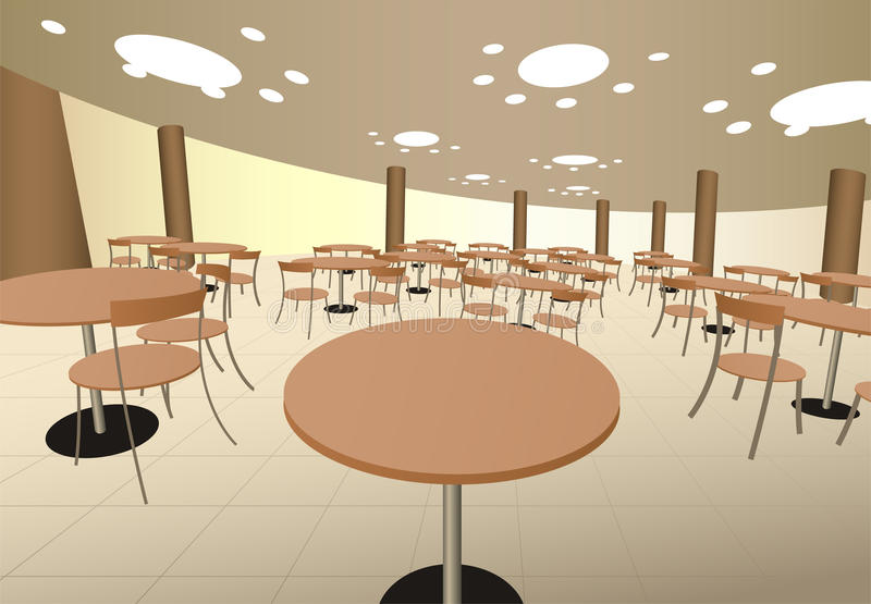 Food cort cafe with tables in mall interior vector illustration