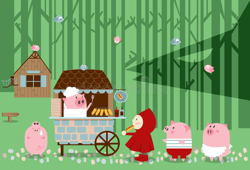 Food court-Little pigs. Illustration of fairy tale. A Red Riding hood comes to the food court in the forest for lunch with little pigs vector illustration