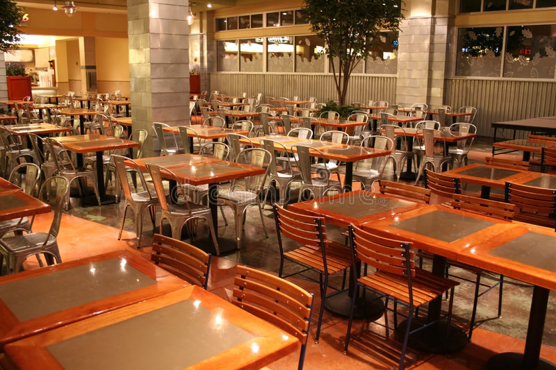 Food court in a mall. Empty dinning tables in a food court stock photography