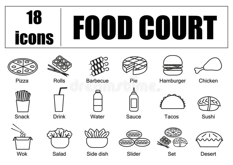 Food court set of icons, line, vector. Delivery of food, menu site. Food court set of icons, line, vector. Delivery of food, menu site vector illustration