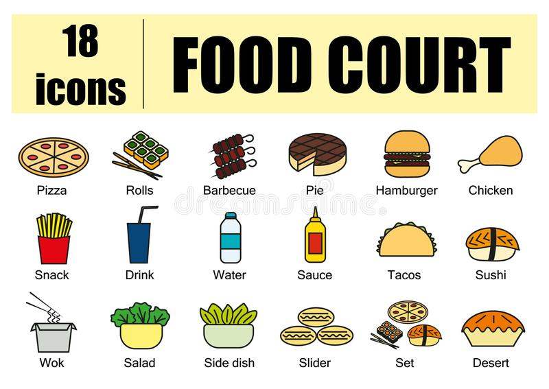 Food court set of icons, line, vector. Delivery of food, menu site. Color. Food court set of icons, line, vector. Delivery of food, menu site. Color royalty free illustration