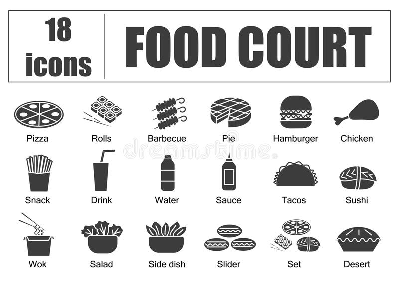 Food court set of icons, line, vector. Delivery of food, menu site. Fill. Food court set of icons, line, vector. Delivery of food, menu site, fill royalty free illustration