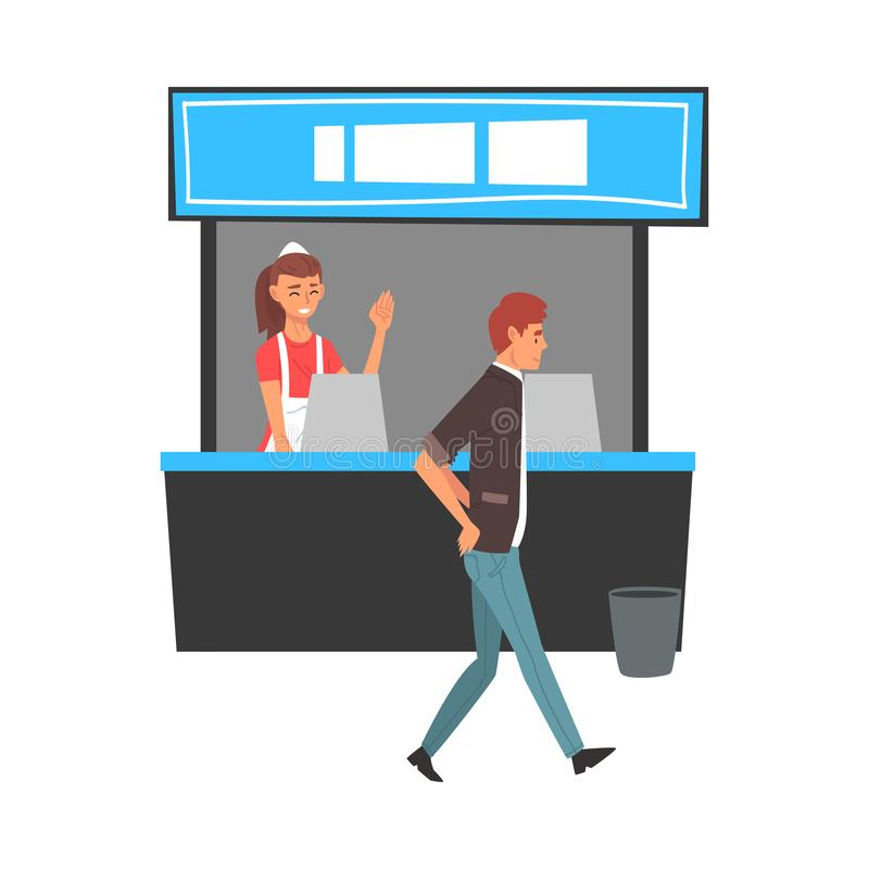 Food Court in Shopping Mall or Business Center, Fast Food Restaurant Worker Vector Illustration. On White Background stock illustration