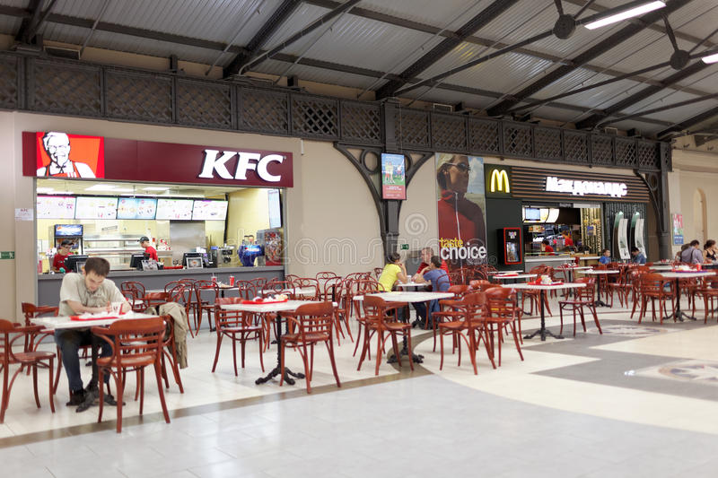 Food court in the shopping mall Varshavsky Express, St. Petersburg royalty free stock image