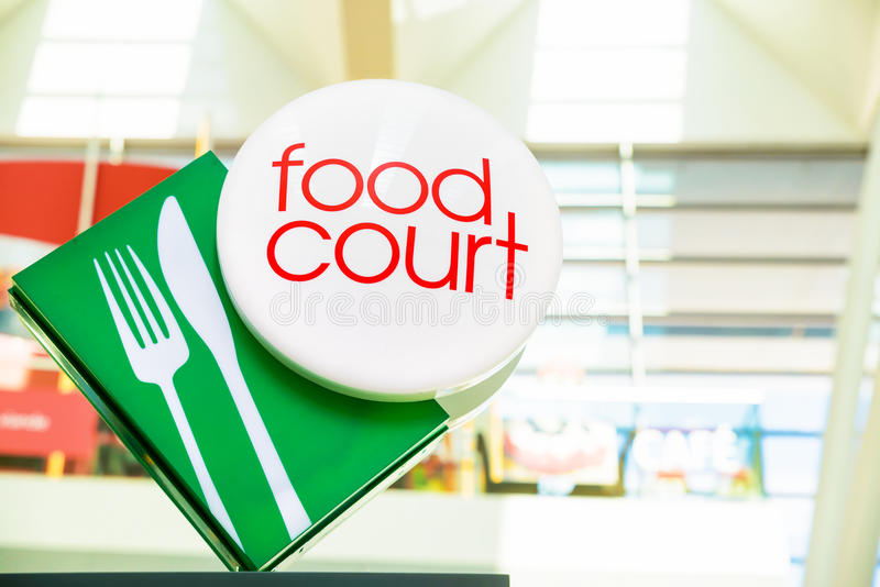 Food court sign. With green and red royalty free stock image