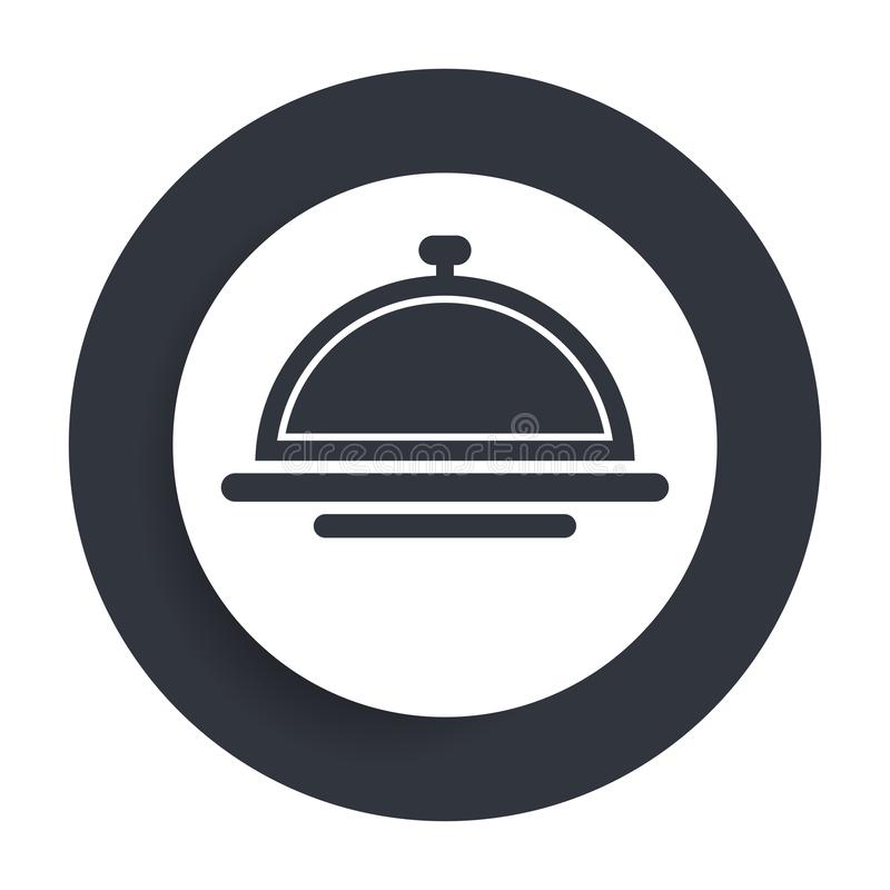 Food cover icon flat vector round button clean black and white design concept isolated illustration stock illustration