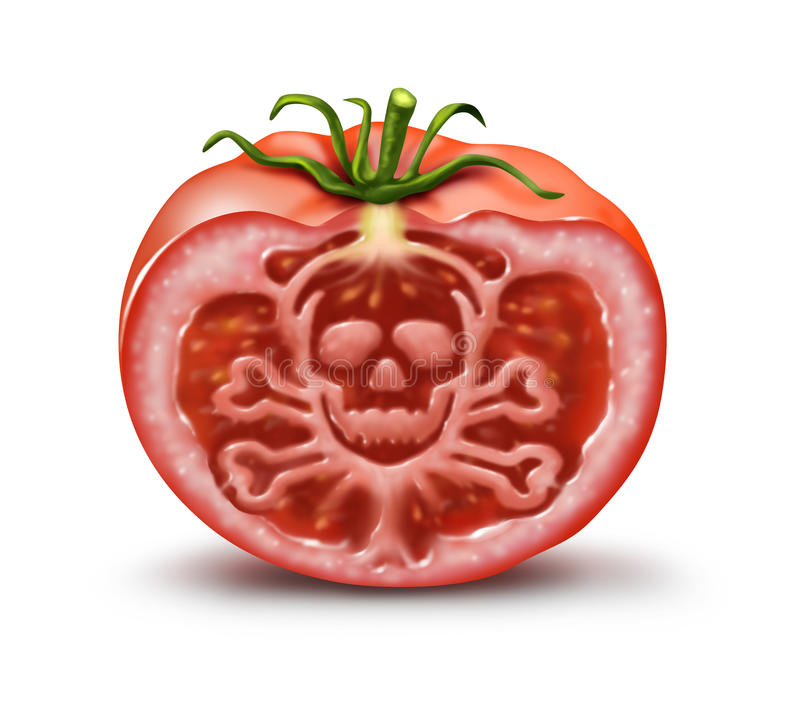 Food Danger. Symbol for people with an allergy and allergic reactions or contaminated agricultural fresh market produce represented by a single tomato in the royalty free illustration