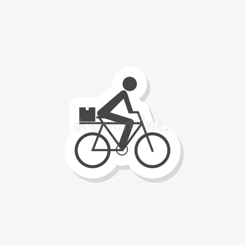 Food Delivery Bike sticker icon. Bike with box simple solid icon. On white stock illustration