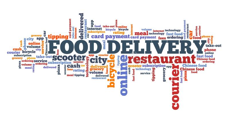 Food delivery collage. Food delivery concept. Restaurant food delivery word cloud collage stock illustration