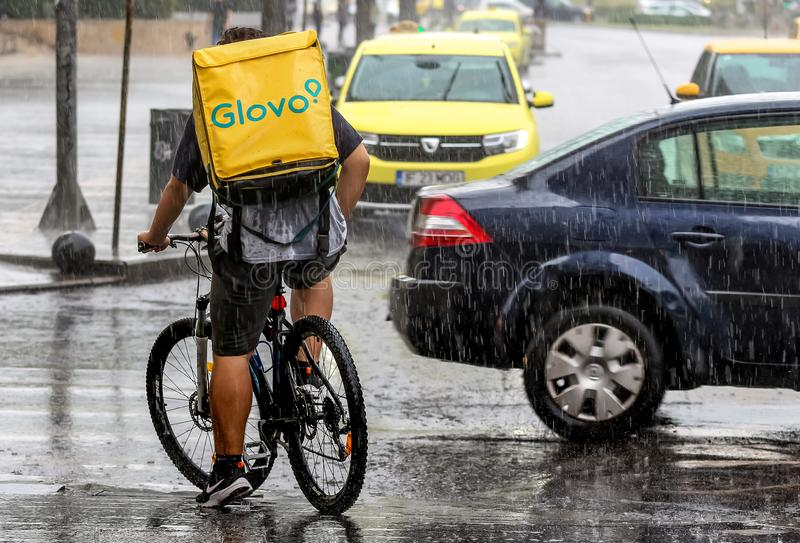 Food Delivery Courier - Bucharest Editorial Photo - Image of