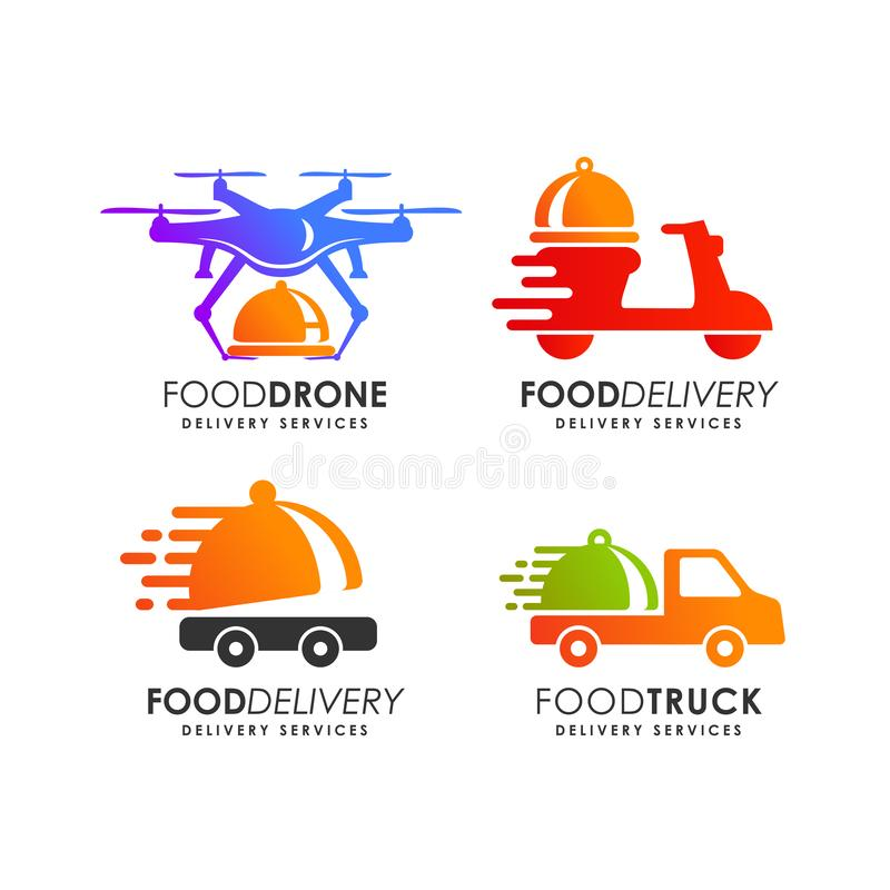 food delivery logo design template royalty free illustration