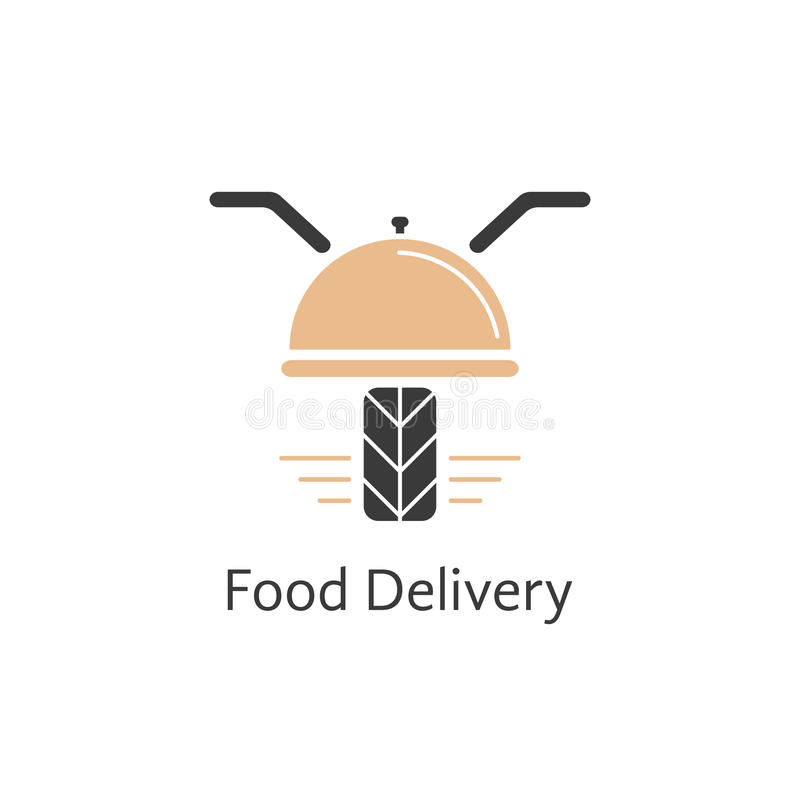 Food delivery logotype like motor scooter stock illustration
