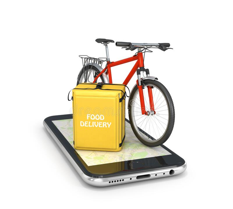 Food delivery mobile app. thermo bag and bike on a mobile phone. 3d illustration vector illustration