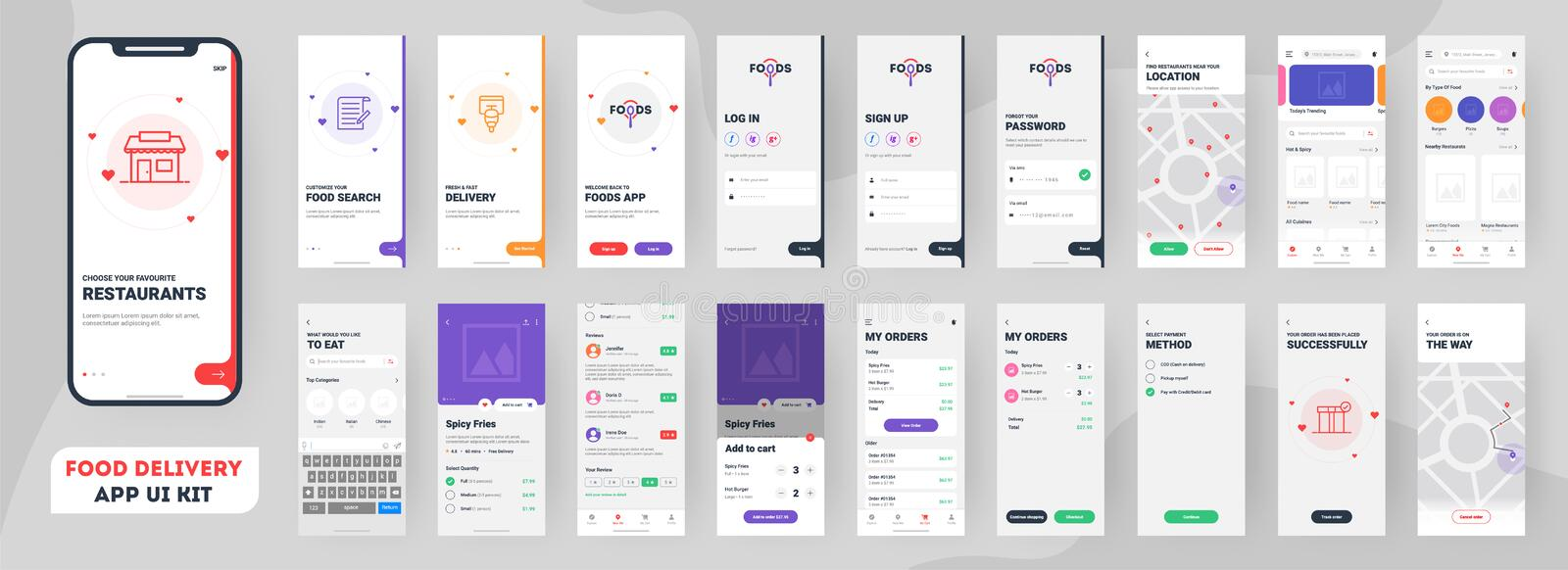 Food delivery mobile app ui kit including sign up, food menu, booking and home service. Food delivery mobile app ui kit including sign up, food menu, booking stock illustration