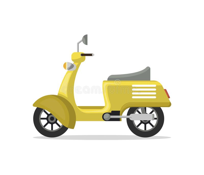 Food delivery moped isolated icon. Food delivery moped icon in flat style. Personal transport, city vehicle isolated on white background illustration stock illustration
