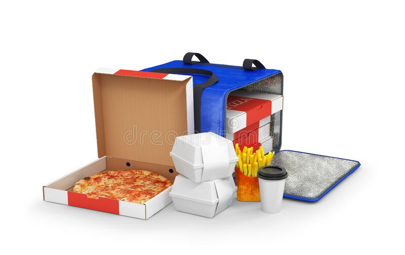 Food delivery, pizza delivery. 3d illustration royalty free illustration