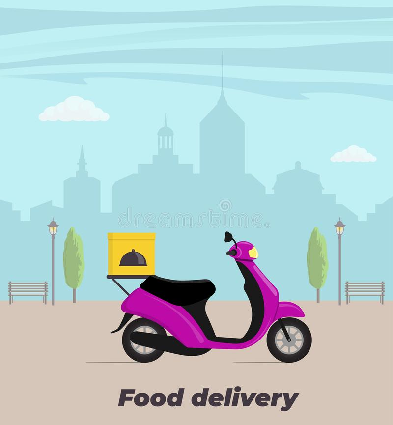 Food delivery service concept illustration. Motorbike with food box on the trunk. Big city on background. Vector flat illustration. Food delivery service concept vector illustration