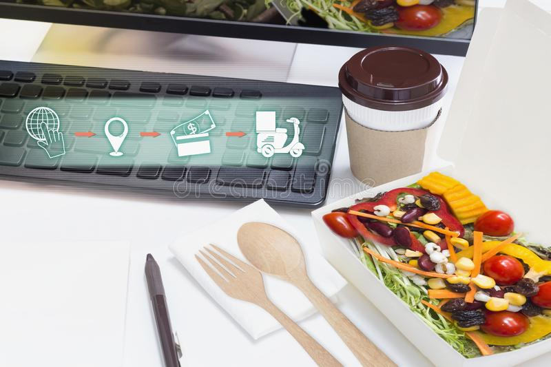Food delivery service for order online and icon media symbol on website for ordering food. Business and technology for shopping. Online with lifestyle in city stock image