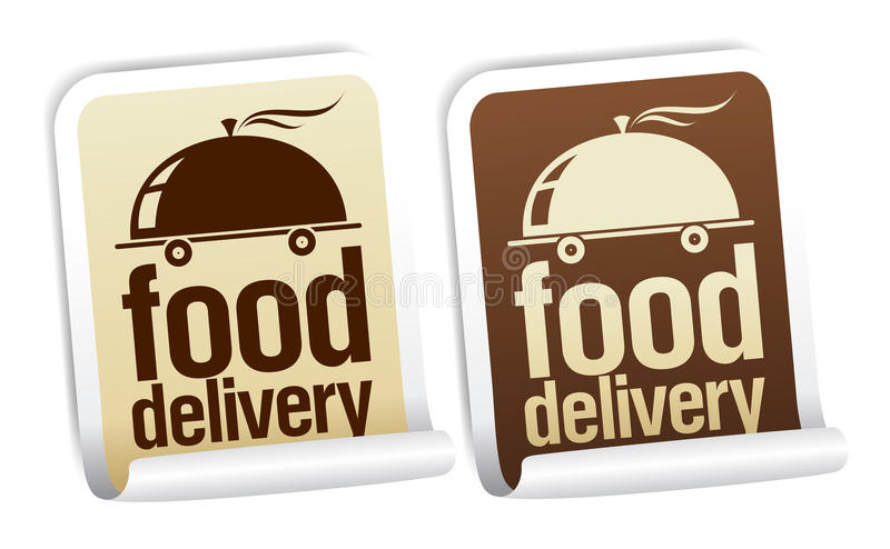 Food delivery stickers. stock illustration