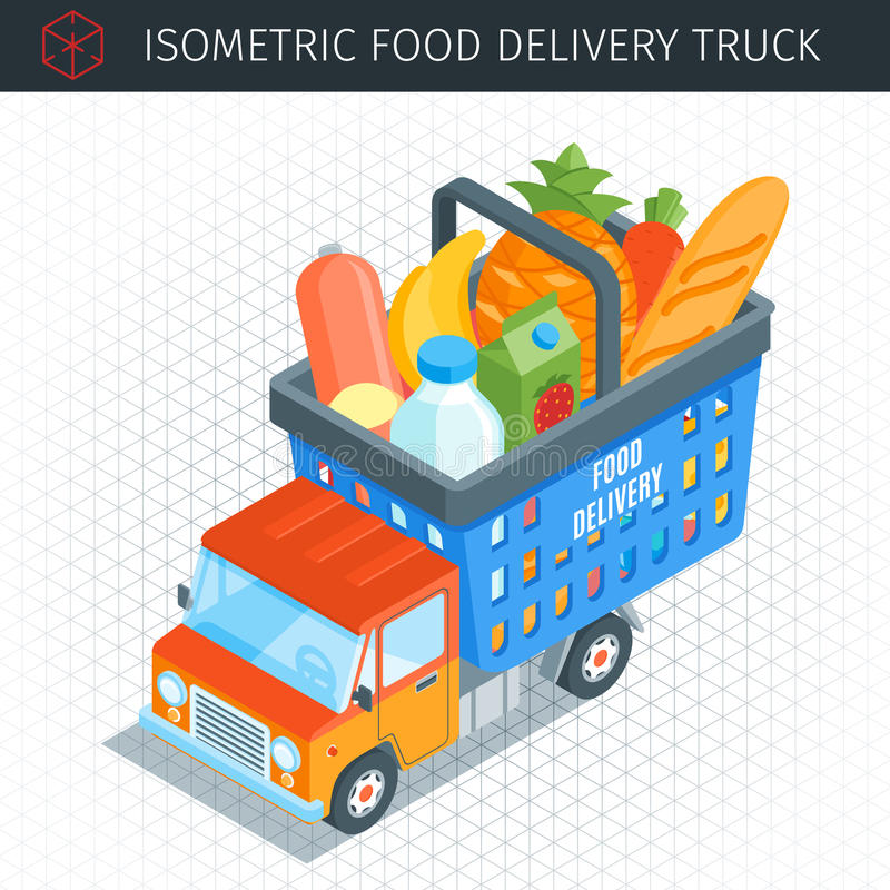 Food delivery truck stock illustration
