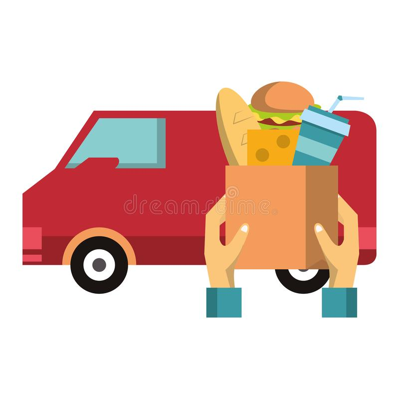Food delivery and van vehicle symbols. Vector illustration graphic design stock illustration