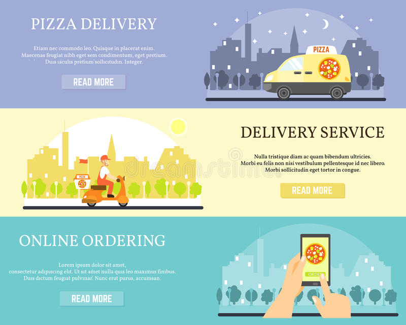 Food delivery vector banners. Order pizza online on internet using smartphone. Pizza delivery by car and motorbike royalty free illustration