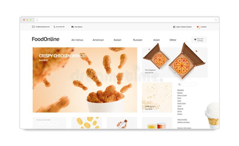 Food delivery webstore site template mock up isolated, stock illustration